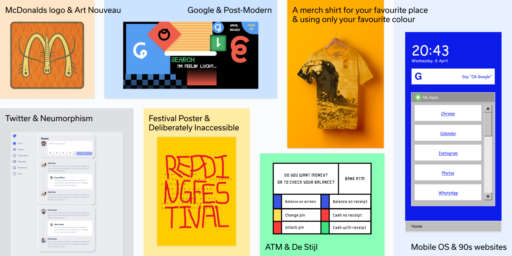 A set of our redesigns including the McDonald's logo in an Art Nouveau style, Google in a Post-Modern style and more.