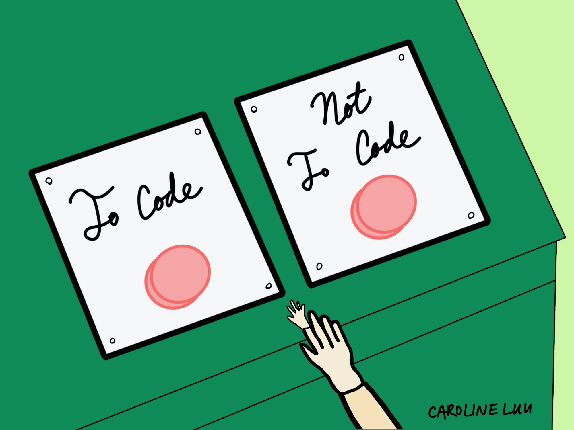 "Two buttons that say ""To Code"" or ""Not to Code"""