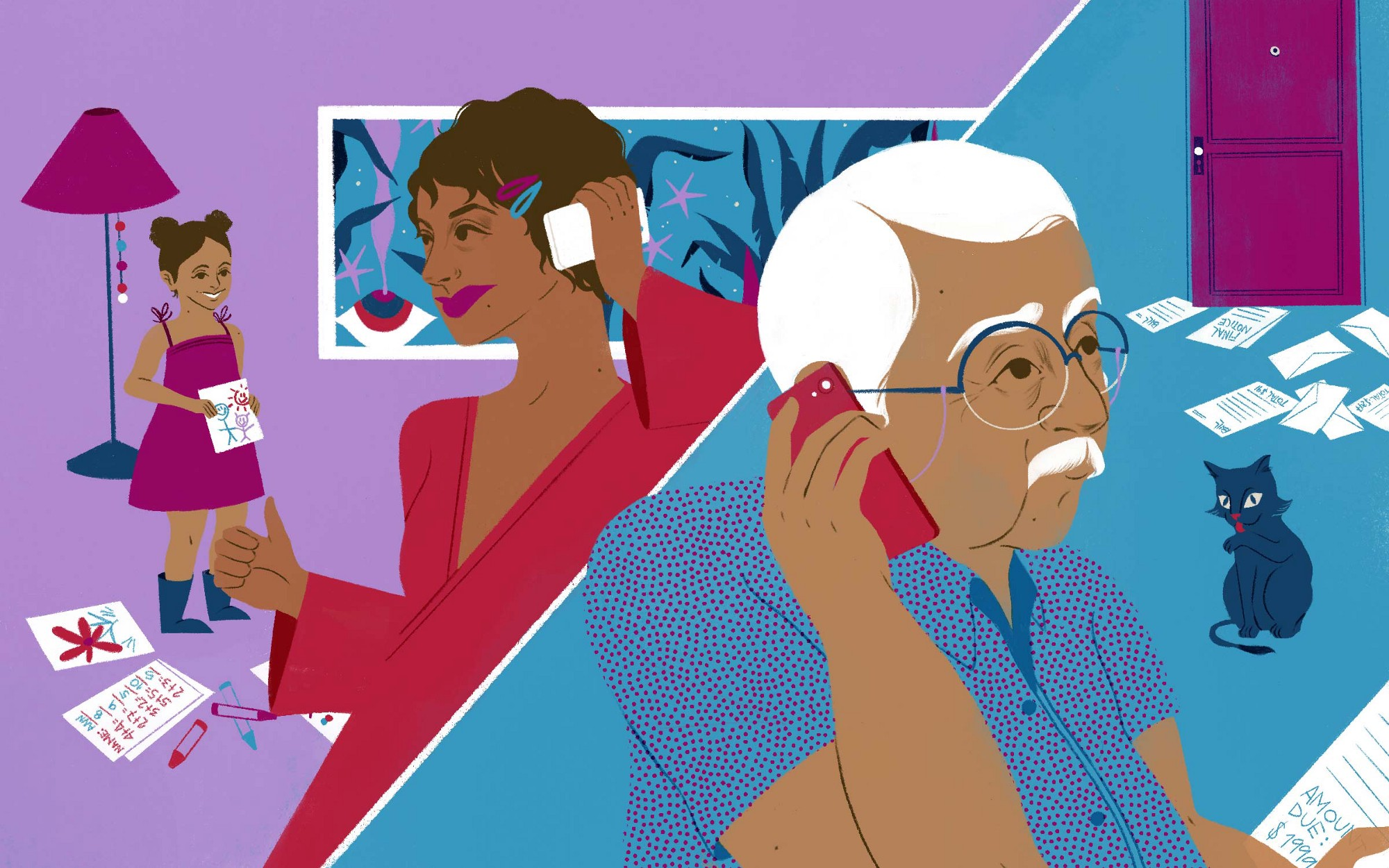 An illustration of a black woman on the phone with her elderly father, while her young daughter is in the background.