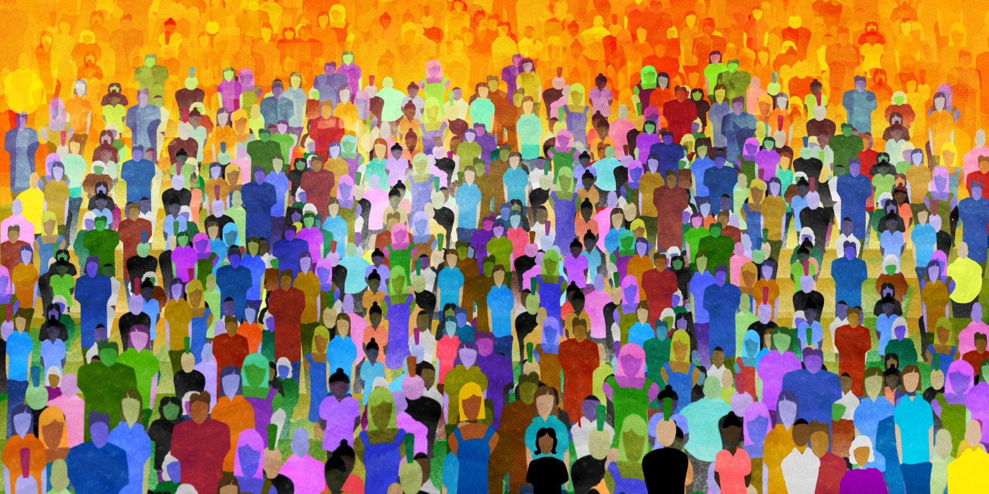 Illustration of people in a crowd