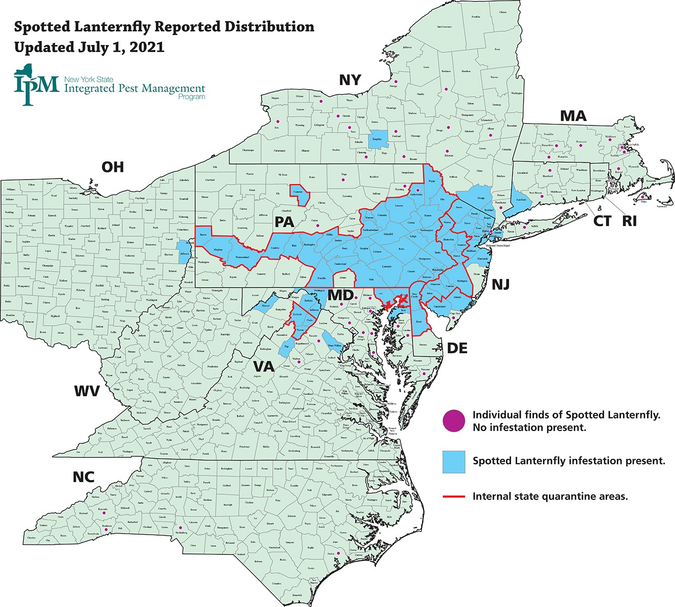 a map showing many eastern, mid-Atlantic states. A large patch of blue indicates the presence of spotted lanternfly throughout eastern Pennsylvania, Maryland, Delaware, and New Jersey and reaching into western Pennsylvania, New York, Connecticut and Virginia