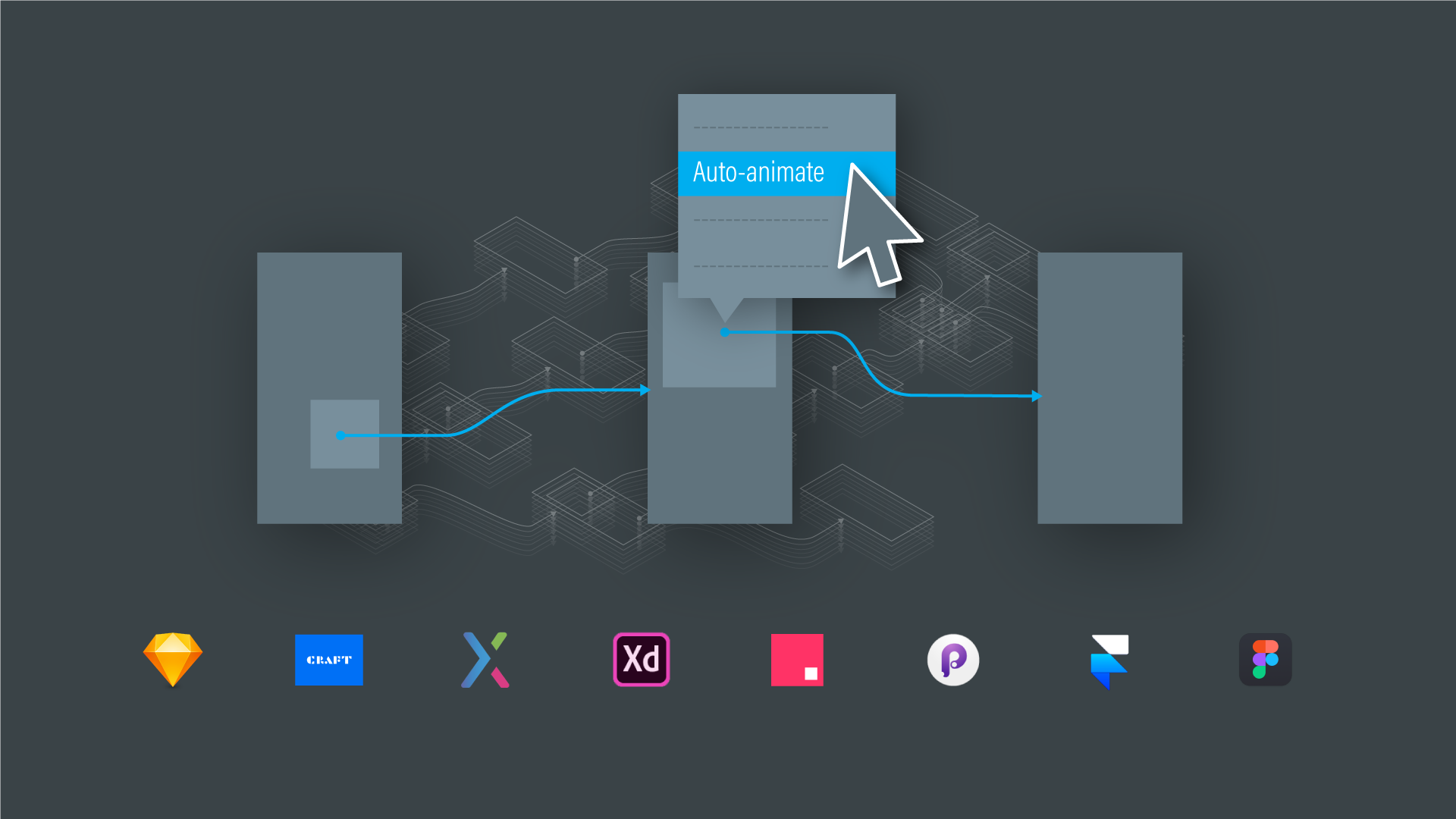 """A diagram of """"stitch screens with wires"""" interaction model and transition dropdown menu, with logos of 8 prototyping tools."""