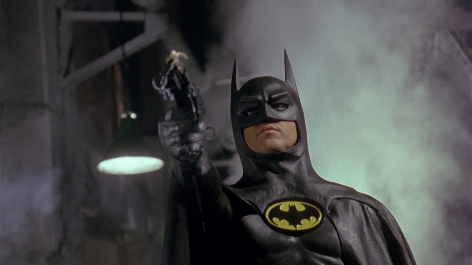 Michael Keaton as Batman, in the movie of the same name.