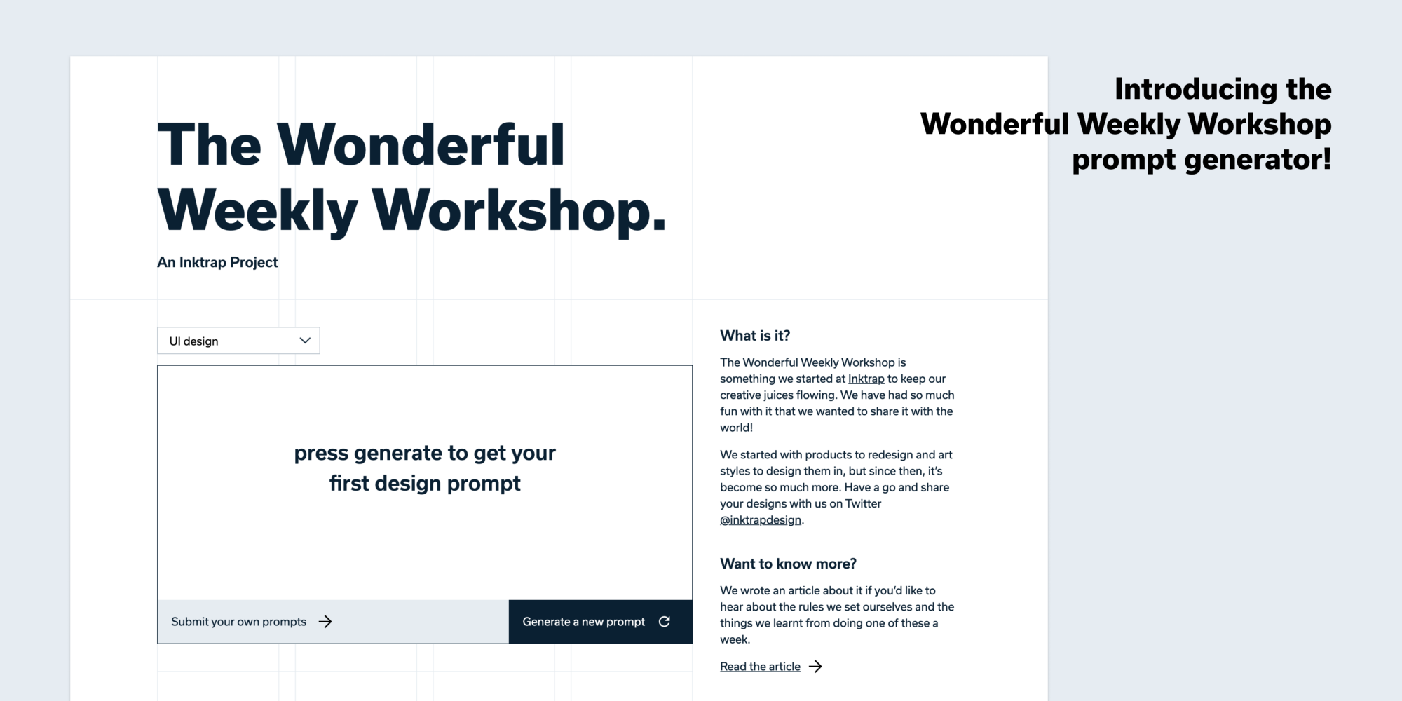 Introducing the Wonderful Weekly Workshop prompt generator—a screenshot of the site.