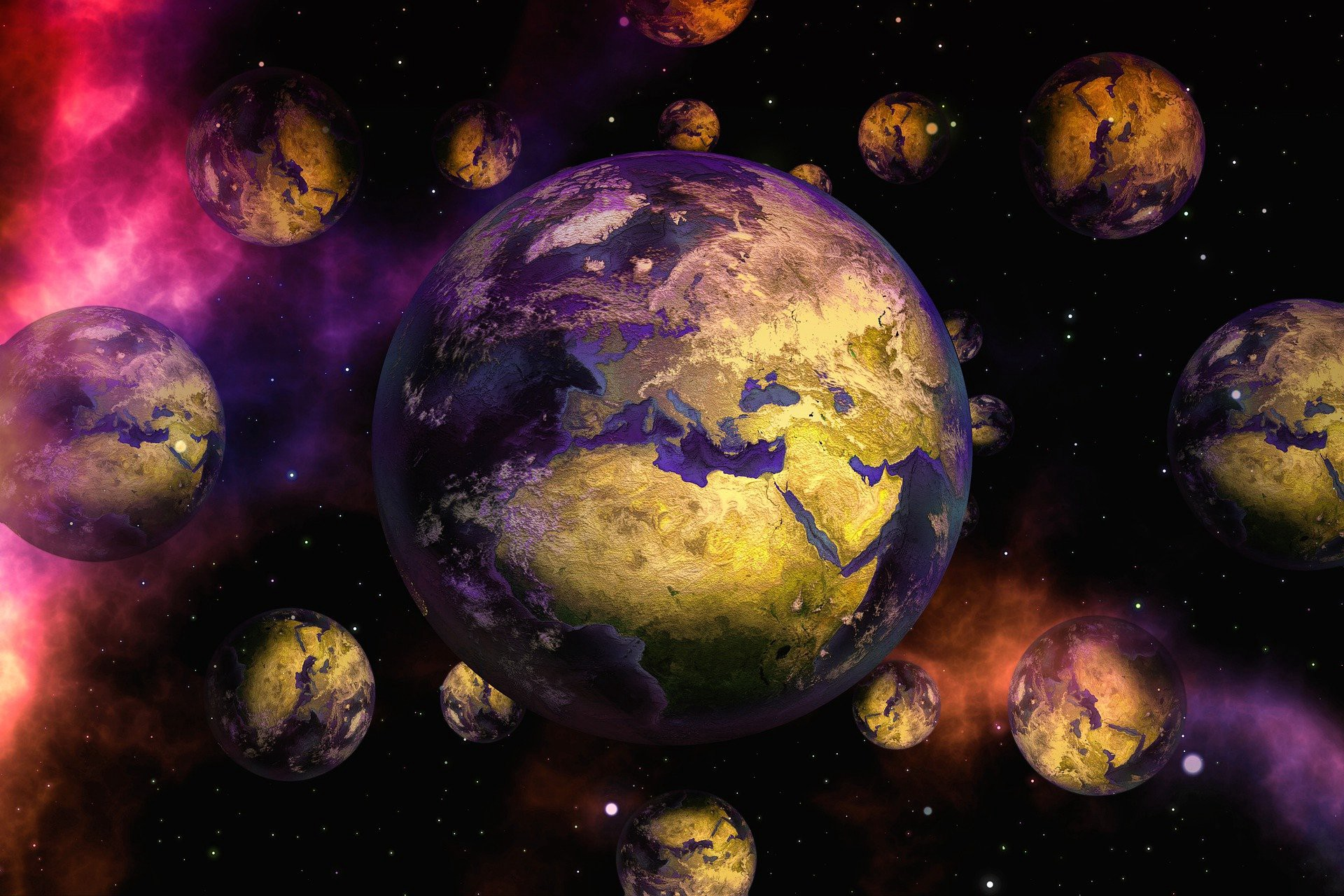 Picture of multiple planets next to each other in a fantastical way.