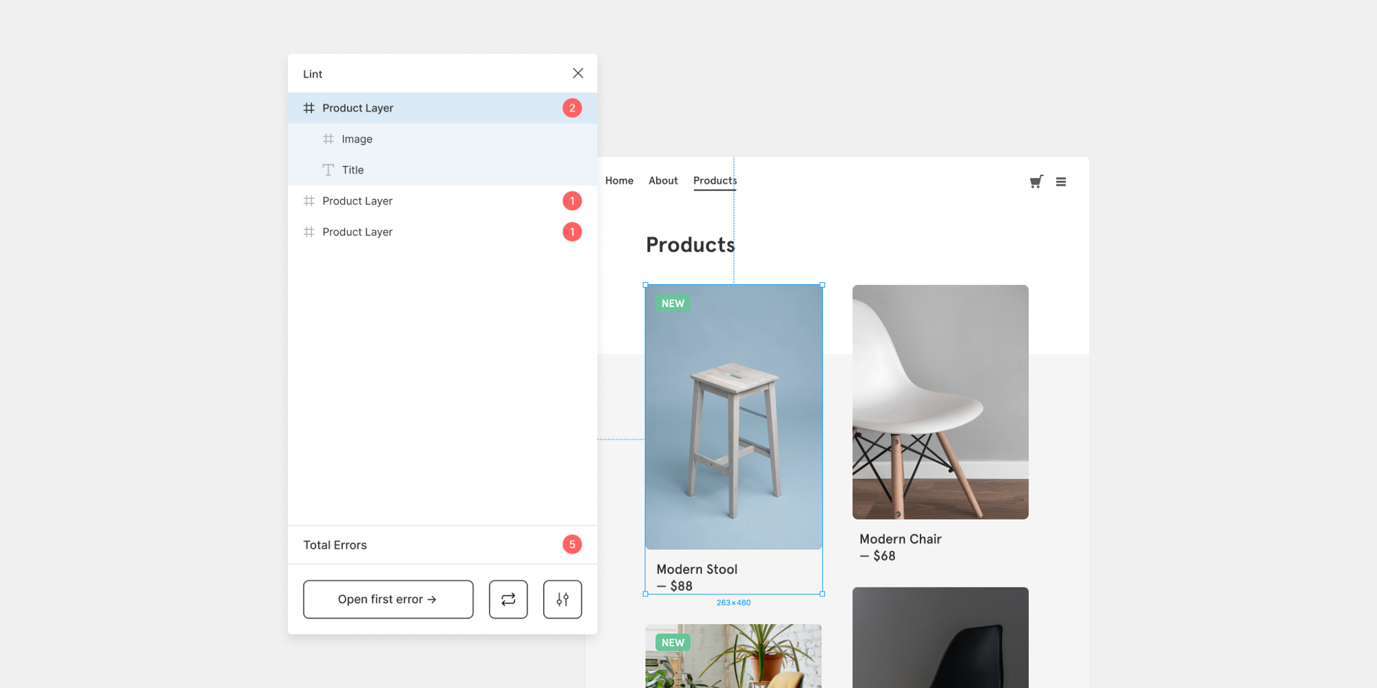 A design of an ecommerce shop with a figma plugin open showing errors that the tool has found.