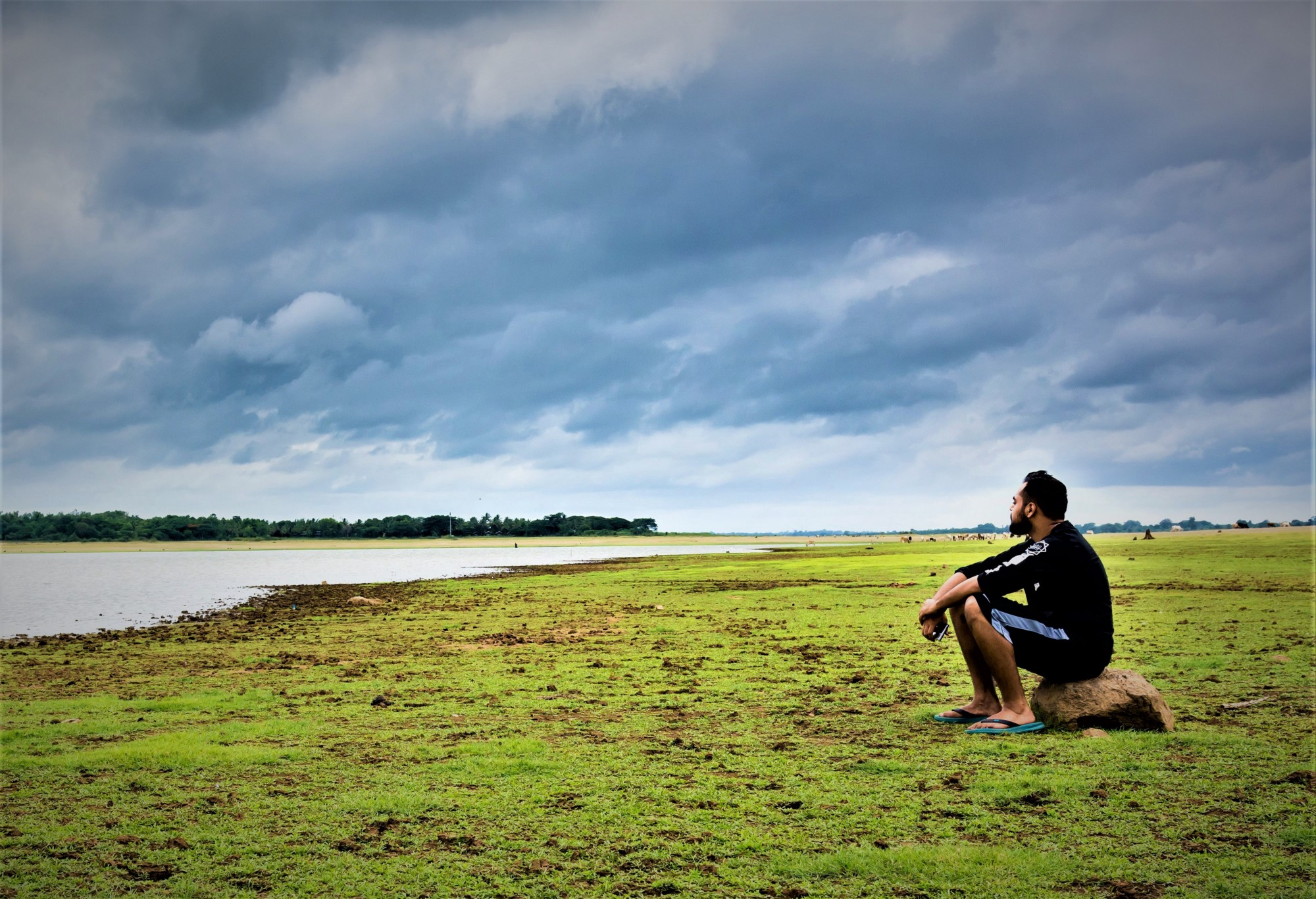 man with dark hair and bear sitting on rock in grassy field looking out over lake and stormy skies