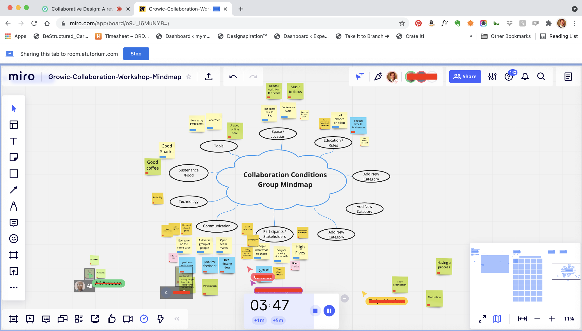 An image of a miro whiteboard canvas from a collaborative mind mapping activity. Shows students collaborating on articulating the conditions for making collaboration successful.