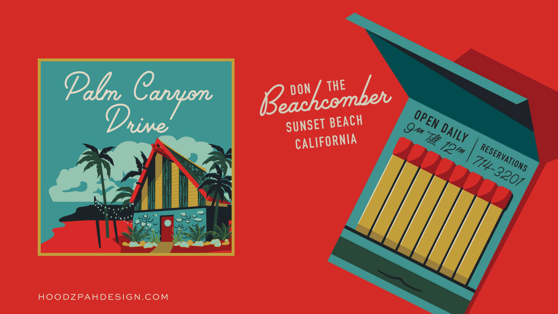 palm canyon drive font in use: a poster and matchbox