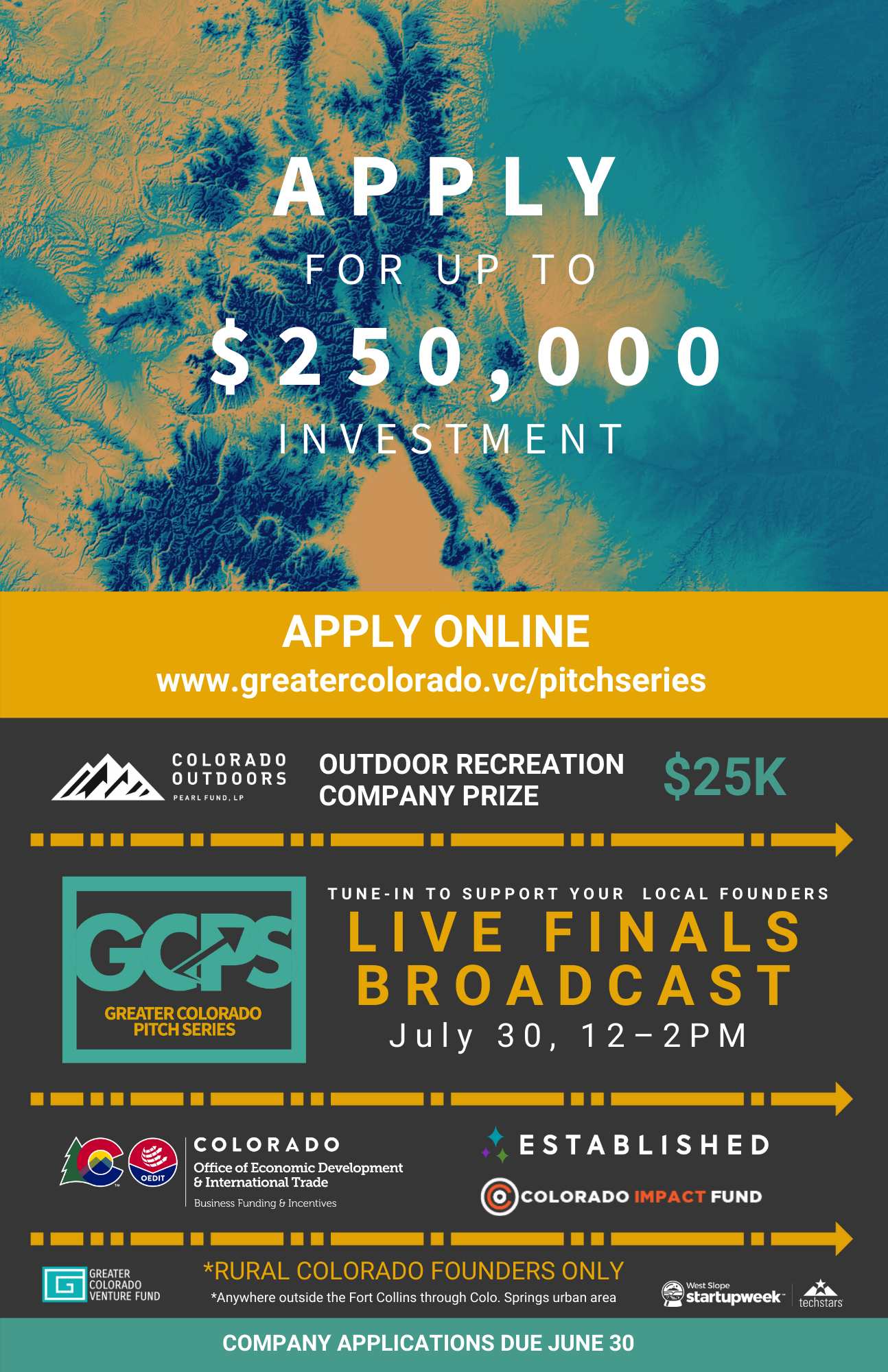 Pitch series poster highlighting sponsors and application date—june 30, broadcast date-july 30