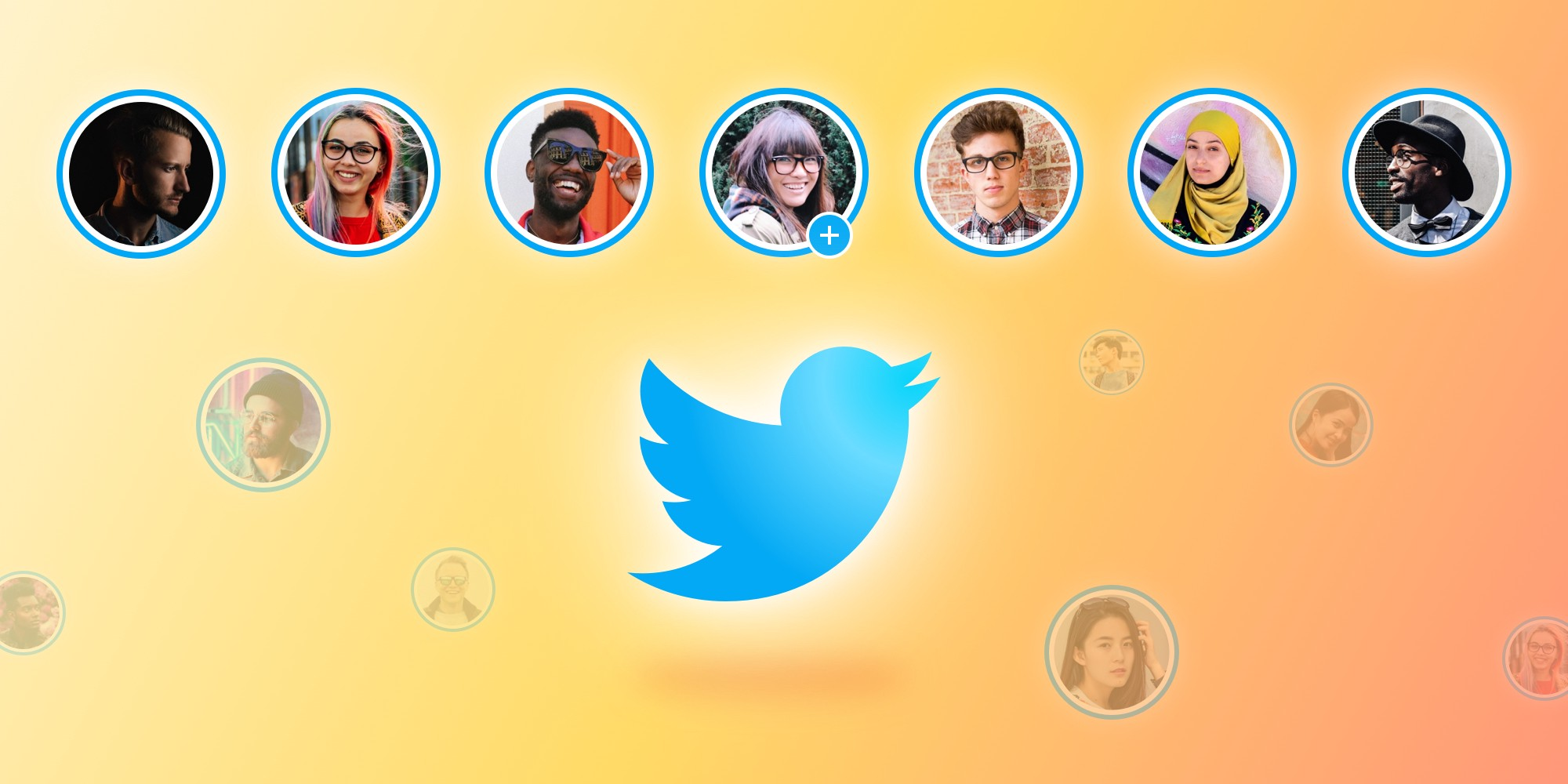 An illustration of the Twitter icon surrounded by different avatars
