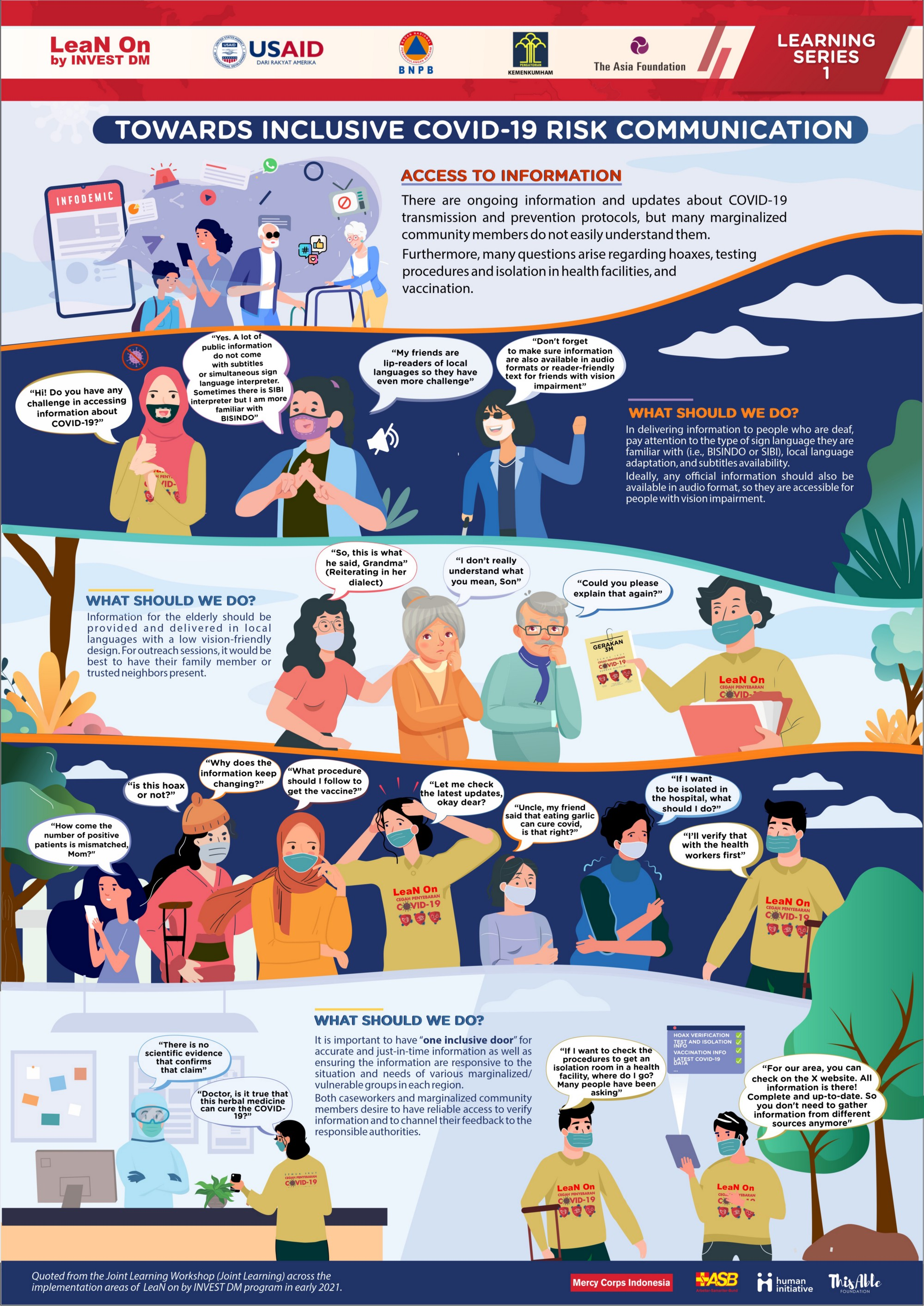This infographic explains the challenges faced by persons with disabilities and other marginalized groups in accessing COVID-19 risk information, along with recommendations for more inclusive access to pandemic information. An audio version of the infographic will be added to this page soon.