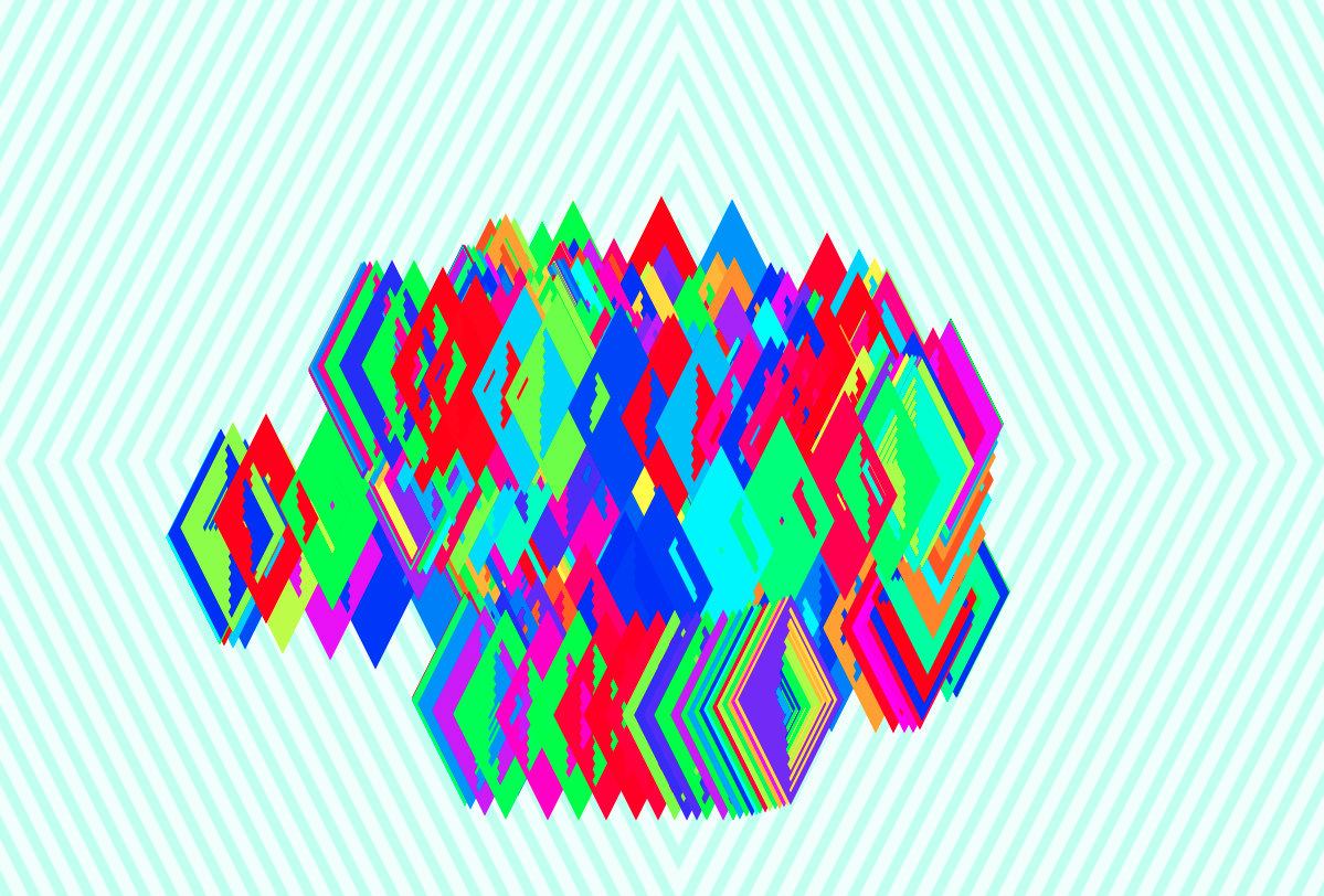 A screenshot of Confetti Vortex, an interactive art trading card