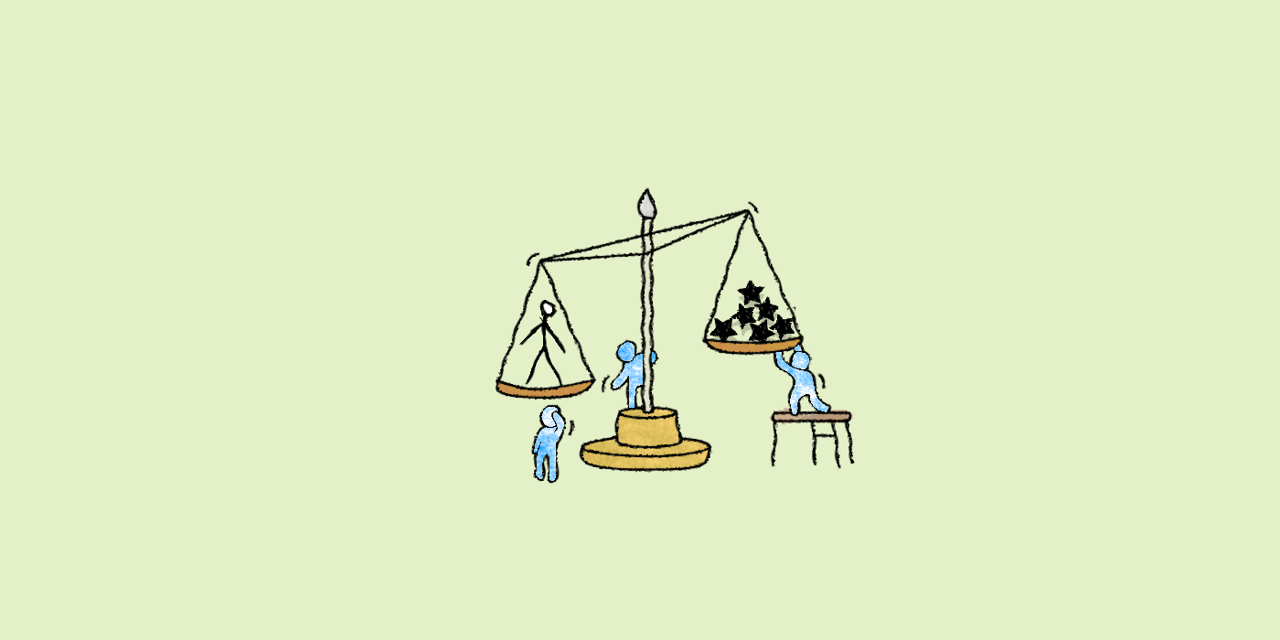 A balance scale with a person on one side and a pile of stars on the other with figures around it making adjustments.