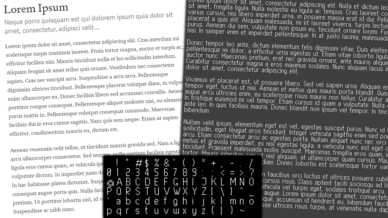 An image of a Lorem Ipsum text in a good looking font on the left and my slightly less good looking self-designed font on the right.