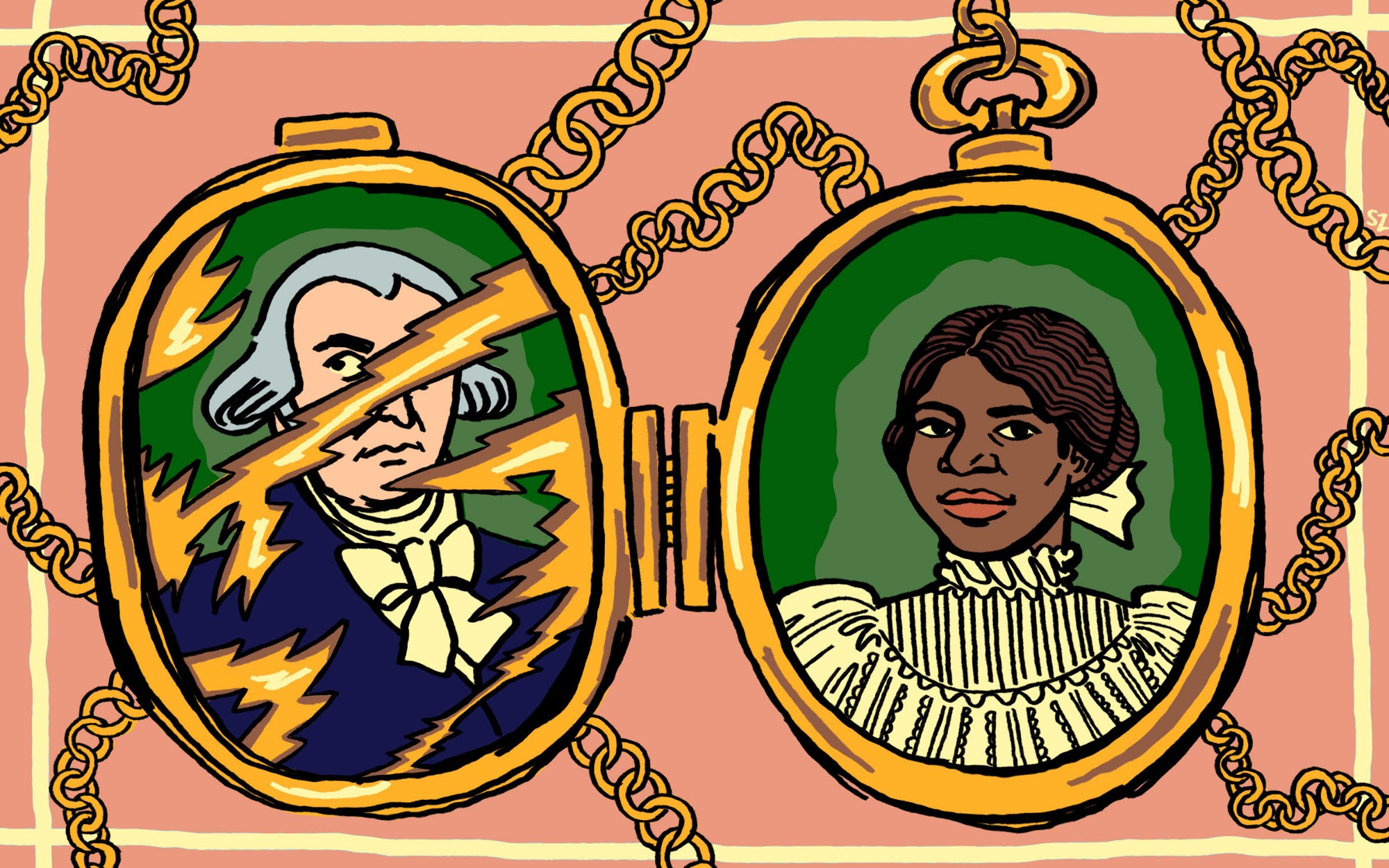 An illustration of an open locket that has James Madison's portrait scratched out on one side, and Coreen, one the other.