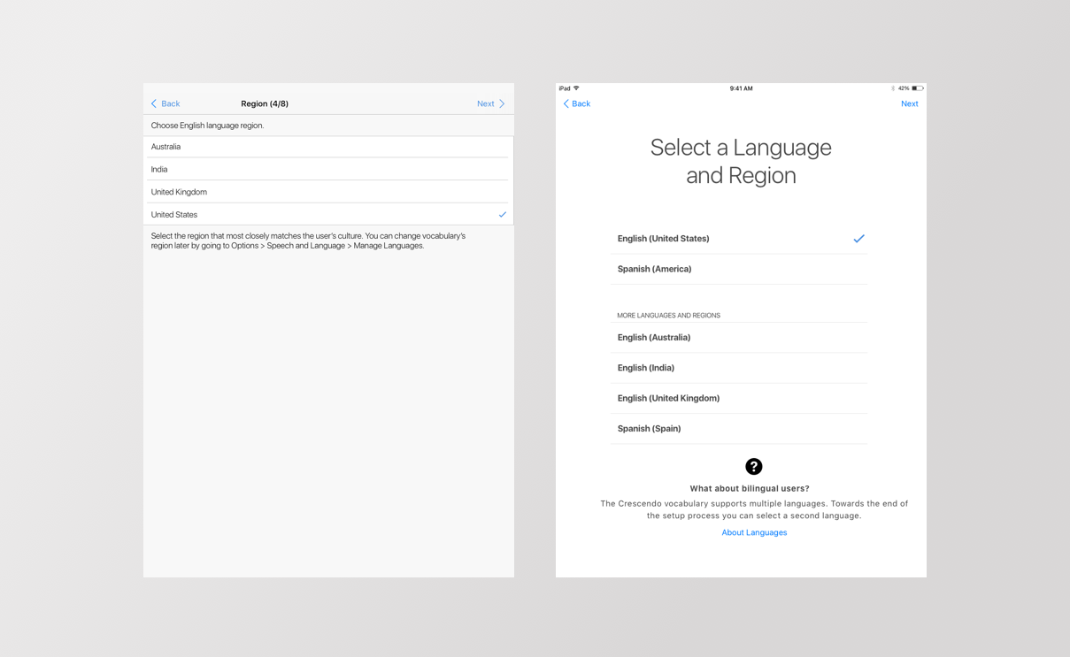 Two screens side by side, one showing the original way to select a language, and the other the newer easier way.