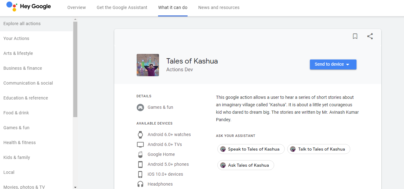 My First Published Google Action, 'Tales of Kashua'