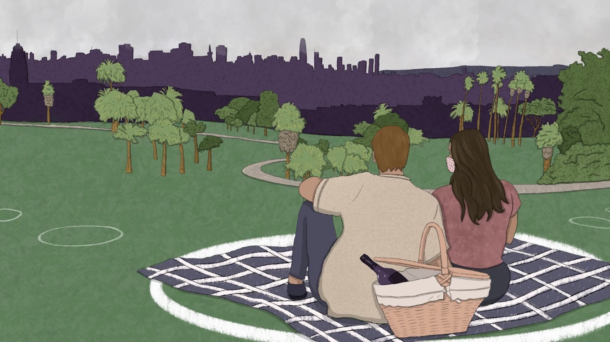 Two people sitting on a picnic blanket in a large white circle in a socially distanced park.