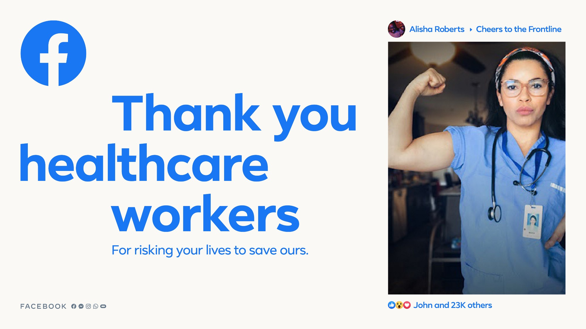 A More Together campaign piece shows a photo of a health care worker flexing their arm muscle.