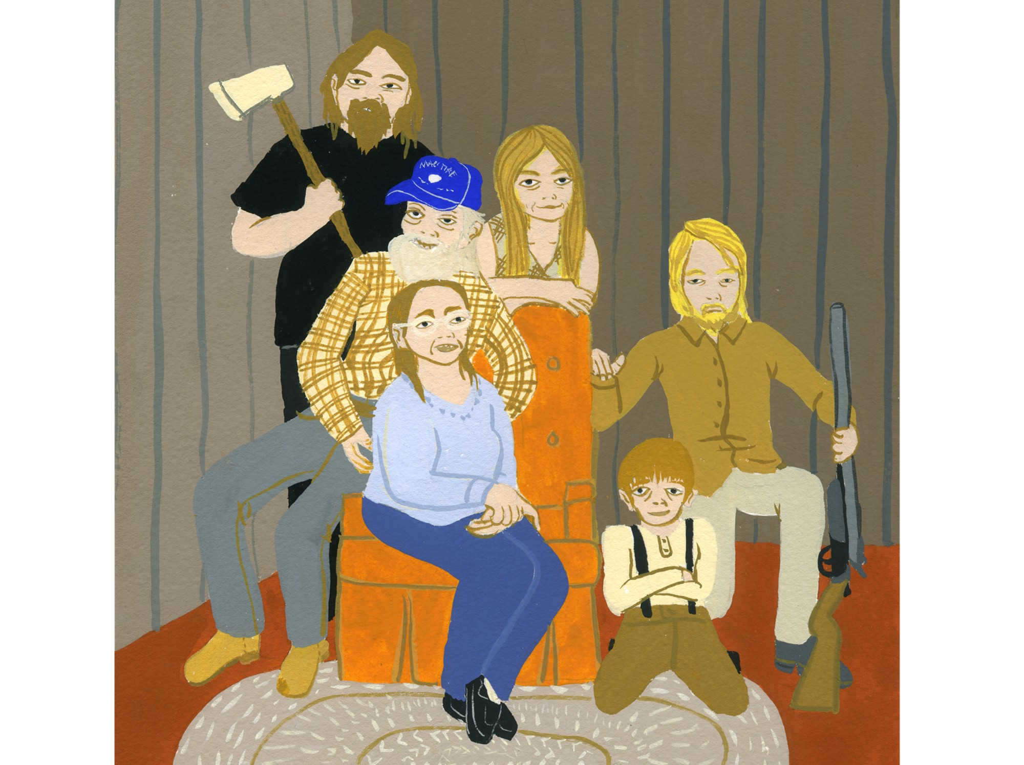A colorful cartoon family portrait painting of mother & father surrounded by her rough lookin' kids, rifle and ax in hand.