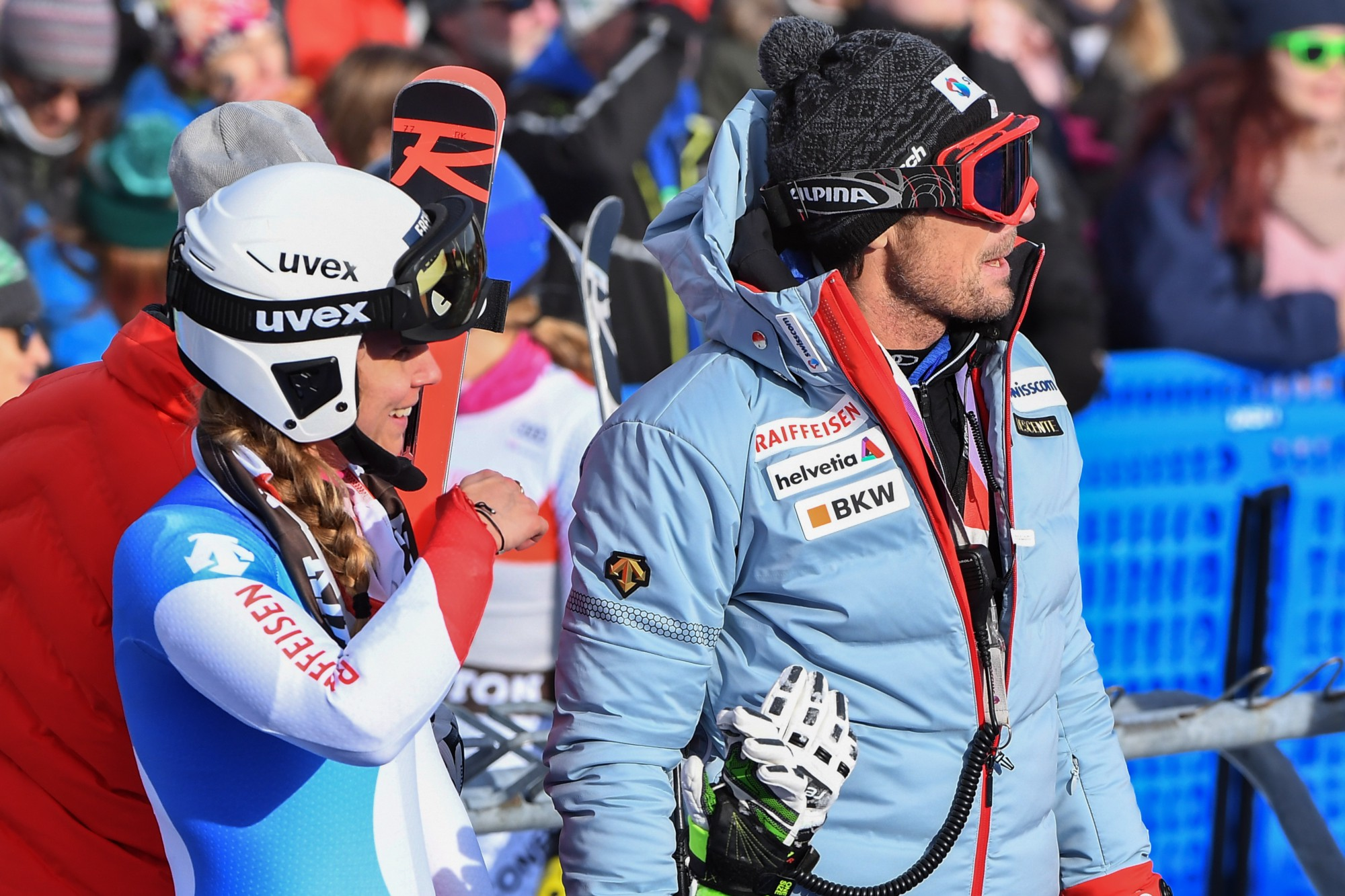 Downhill athletes and coaches