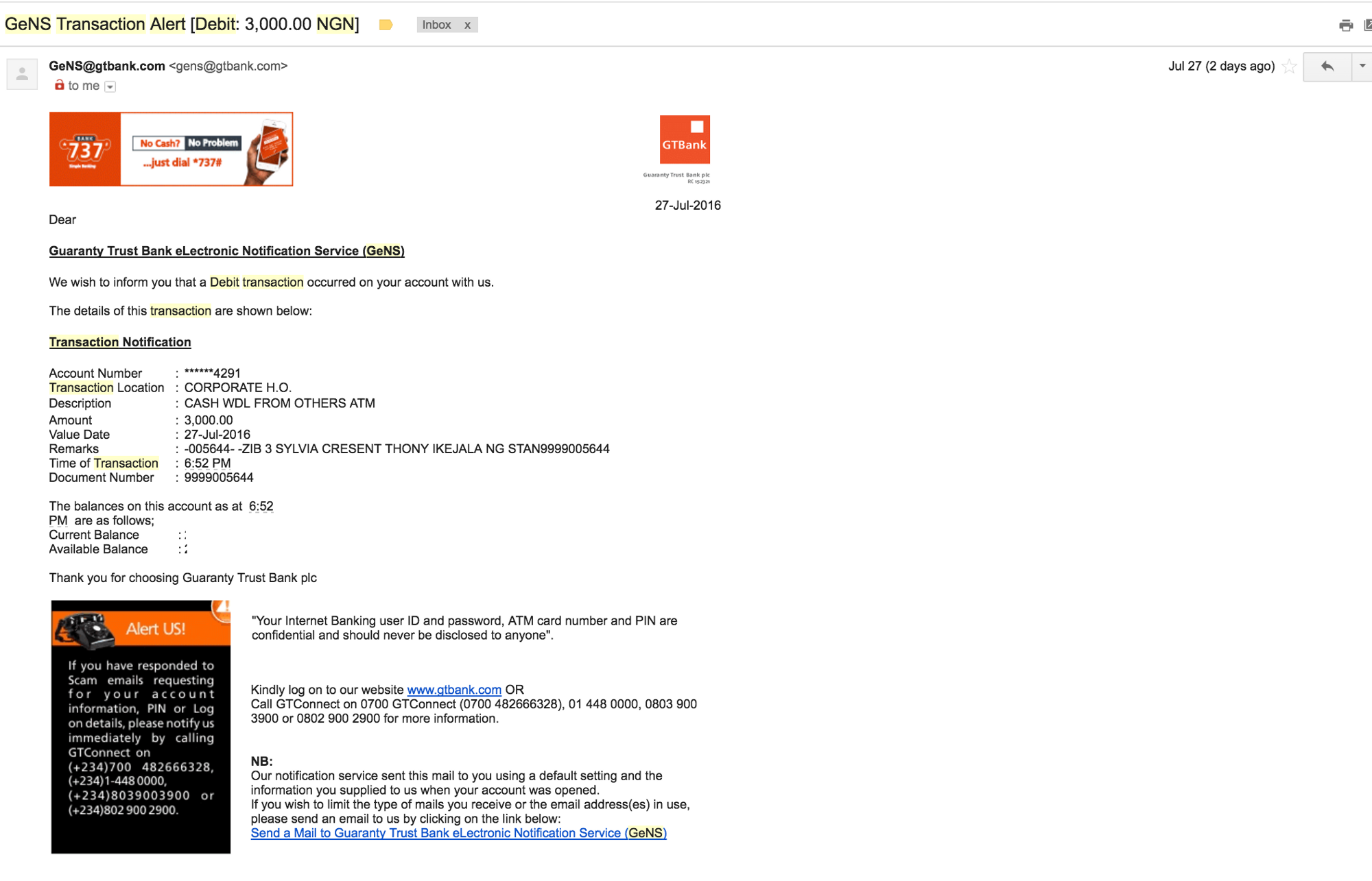 Day 17: Email receipt design — GTBank, FirstBank and Diamond Bank