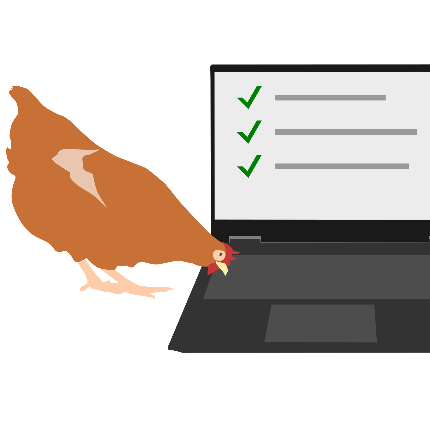 A chicken pecking at a laptop and checking items off a list.