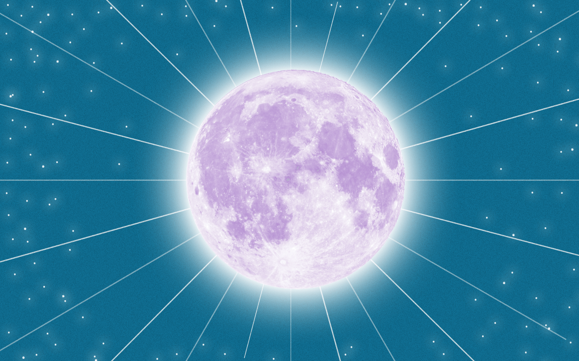 A photo illustration of a full moon against a dark azure sky with small white star lights.