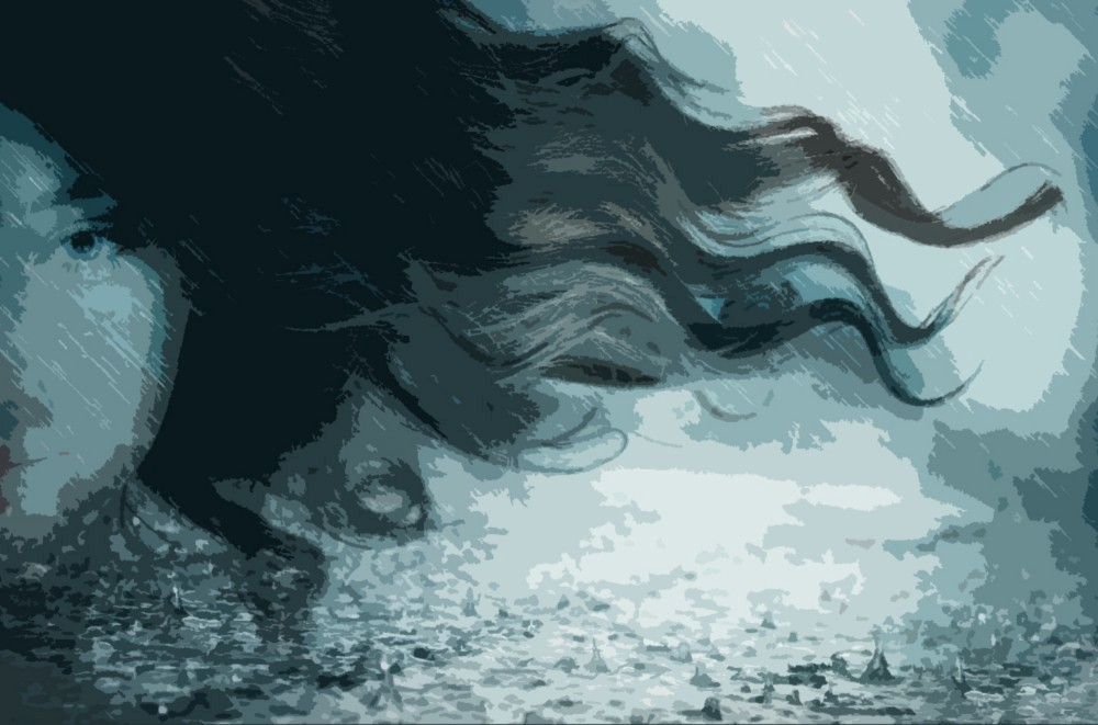 A styllized illustration of the side of a woman's face with long dark hair streaming in the wind.
