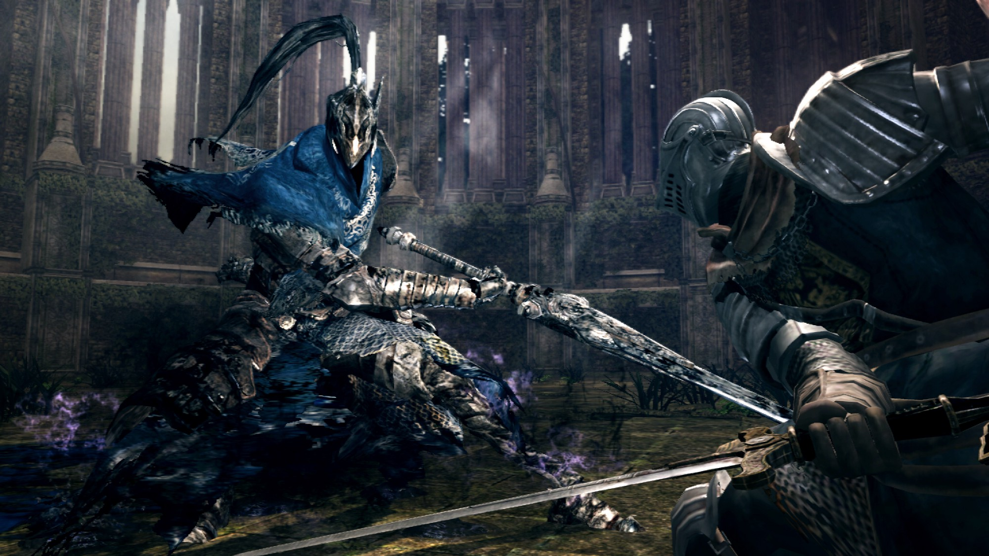 A large blue knight with a scythe attacks the player character, also a knight but wielding a sword, in a large dark hall.