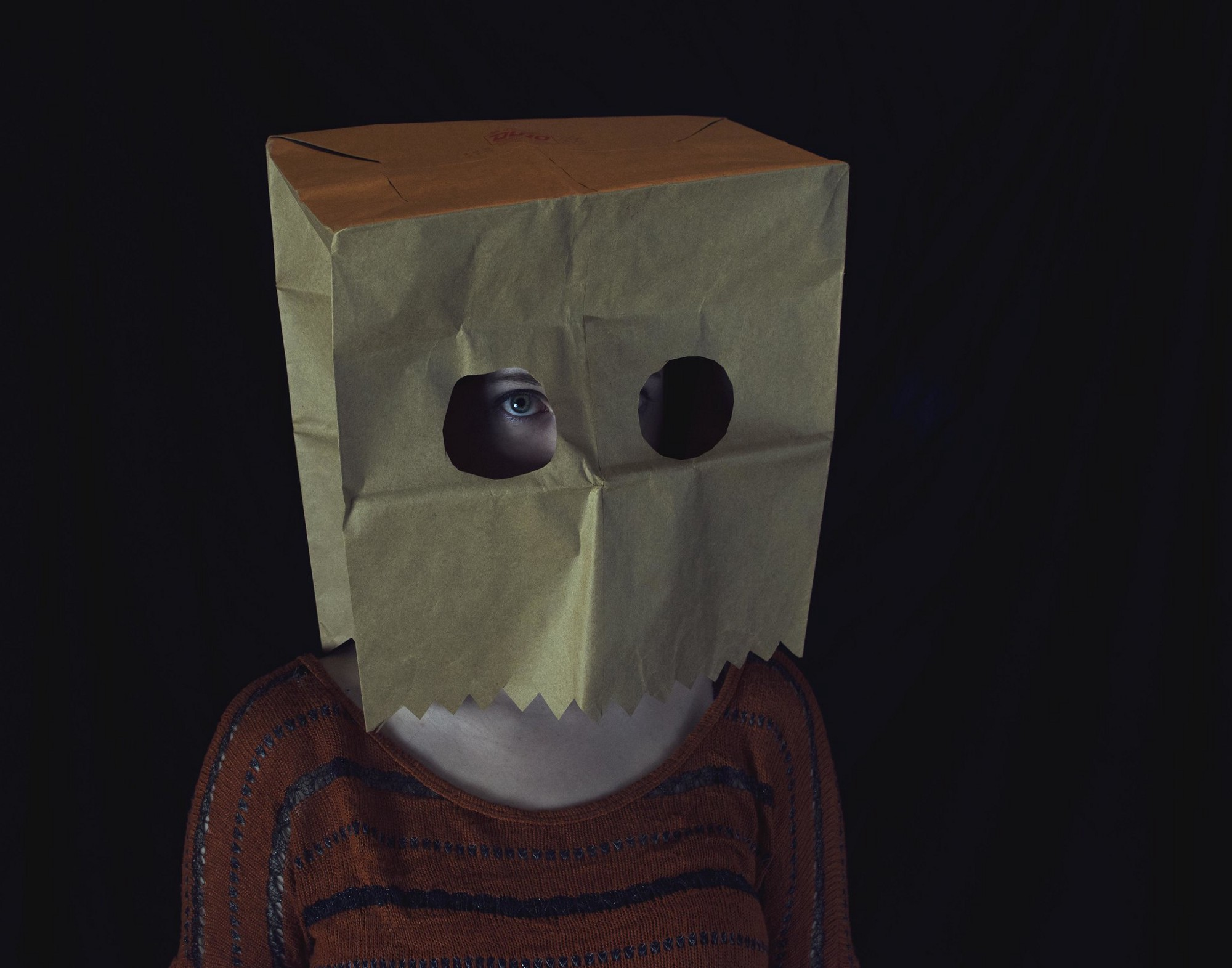 Person with paper bag over their head with eyeholes.