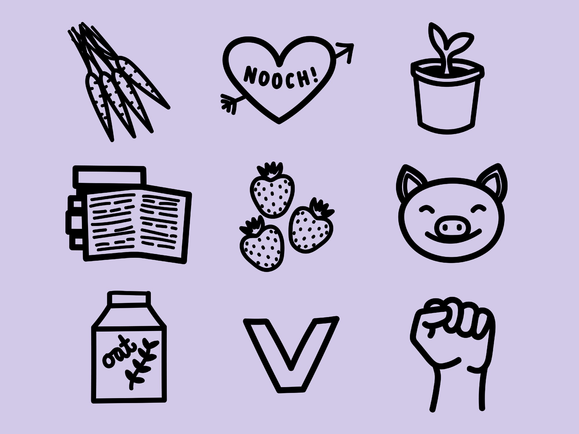a set of vegan-related line drawings on a lavender background: a smiling pig, strawberries, carrots, books, oat milk, etc