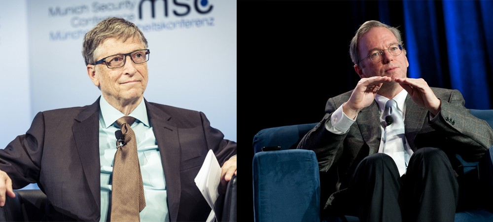 Bill Gates (left) former CEO of Microsoft, Eric Schmidt (Right) Former CEO of Google