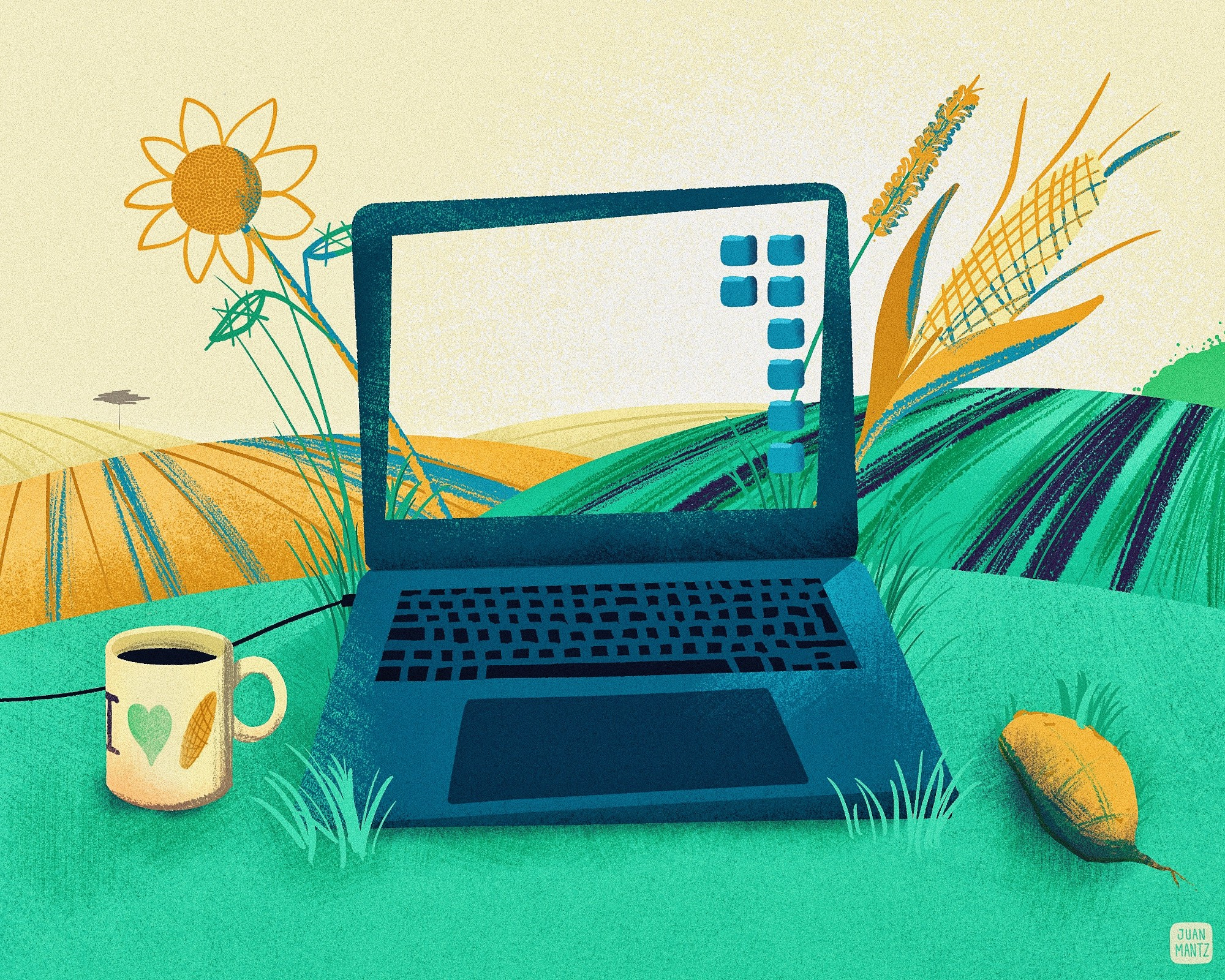 Remote Work, a computer over a field on the country side