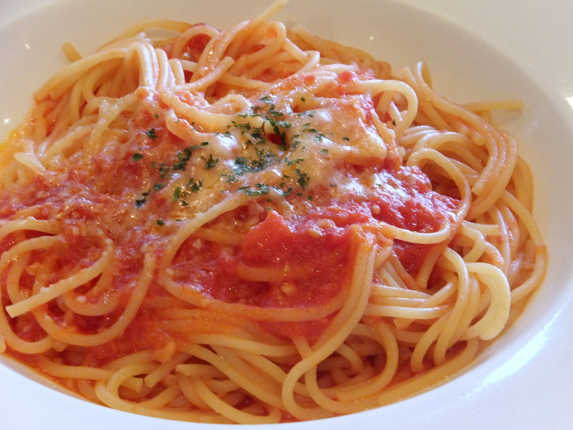 Tantalizing and simple plate of spaghetti and red sauce