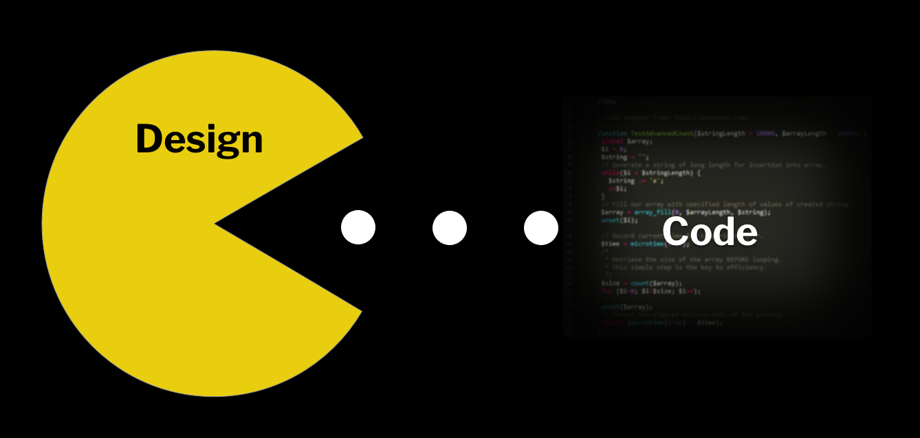 Design eating code in the style of pac-man