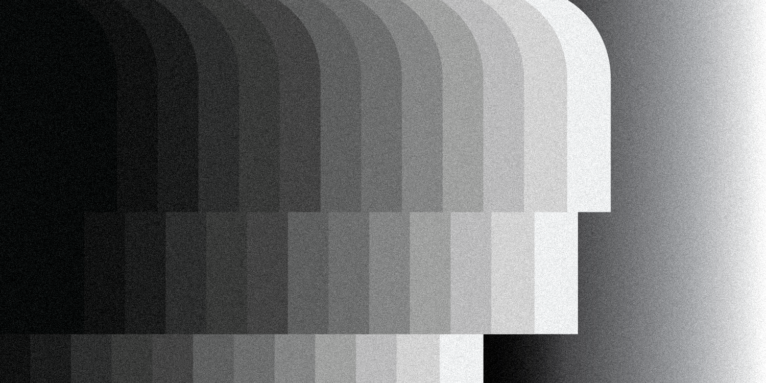 illustration of abstract faces ordered from black to white with a gradient background