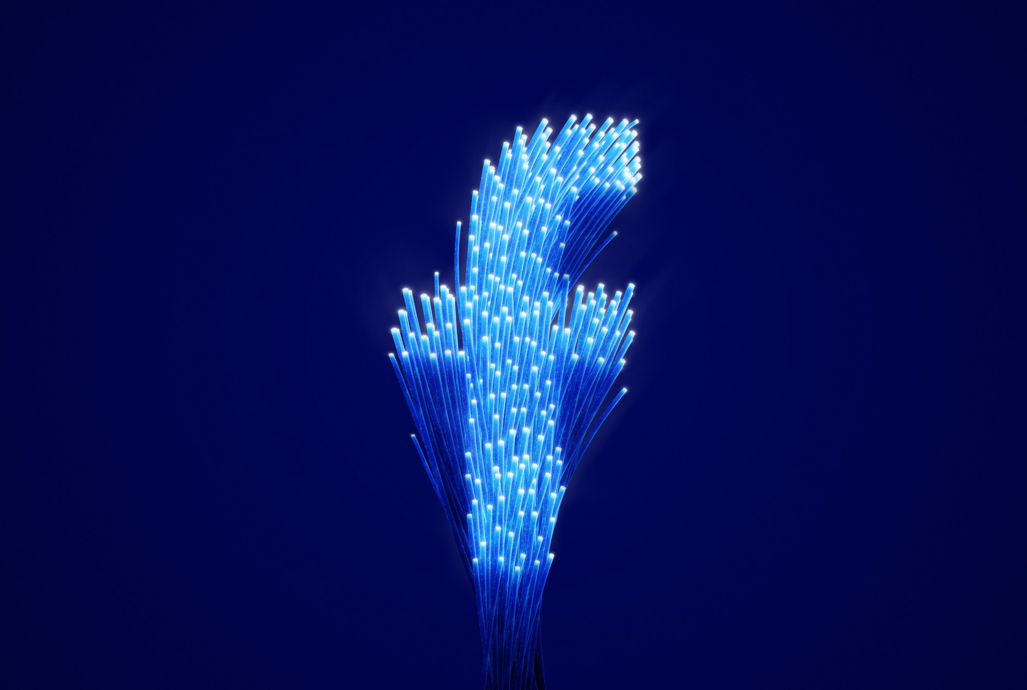 Large letter, f, made up of numerous fuzzy blue lights, on a dark blue background.