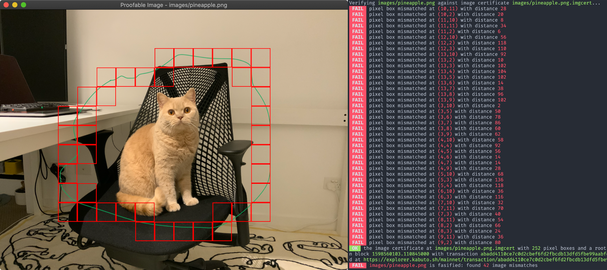 Proofable Image Tampering Detection for the Image of My Cat Pineapple