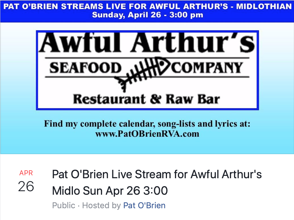 Virginia musician Pat O'Brien offers a live-streaming concert to benefit Awful Arthur's restaurant.