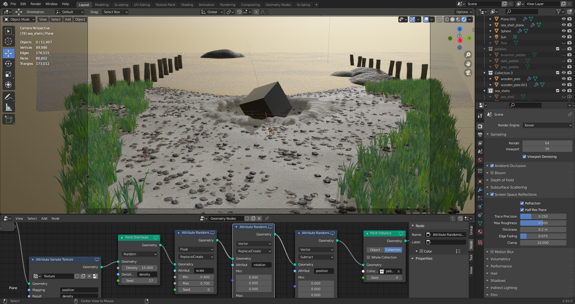 A screenshot of a scene and the user interface in modern Blender versions. It's a scene of a beach with a lot of rocks and dune grass and an ocean with a sunset. The userface is dark gray and you can see a node editor at the bottom.