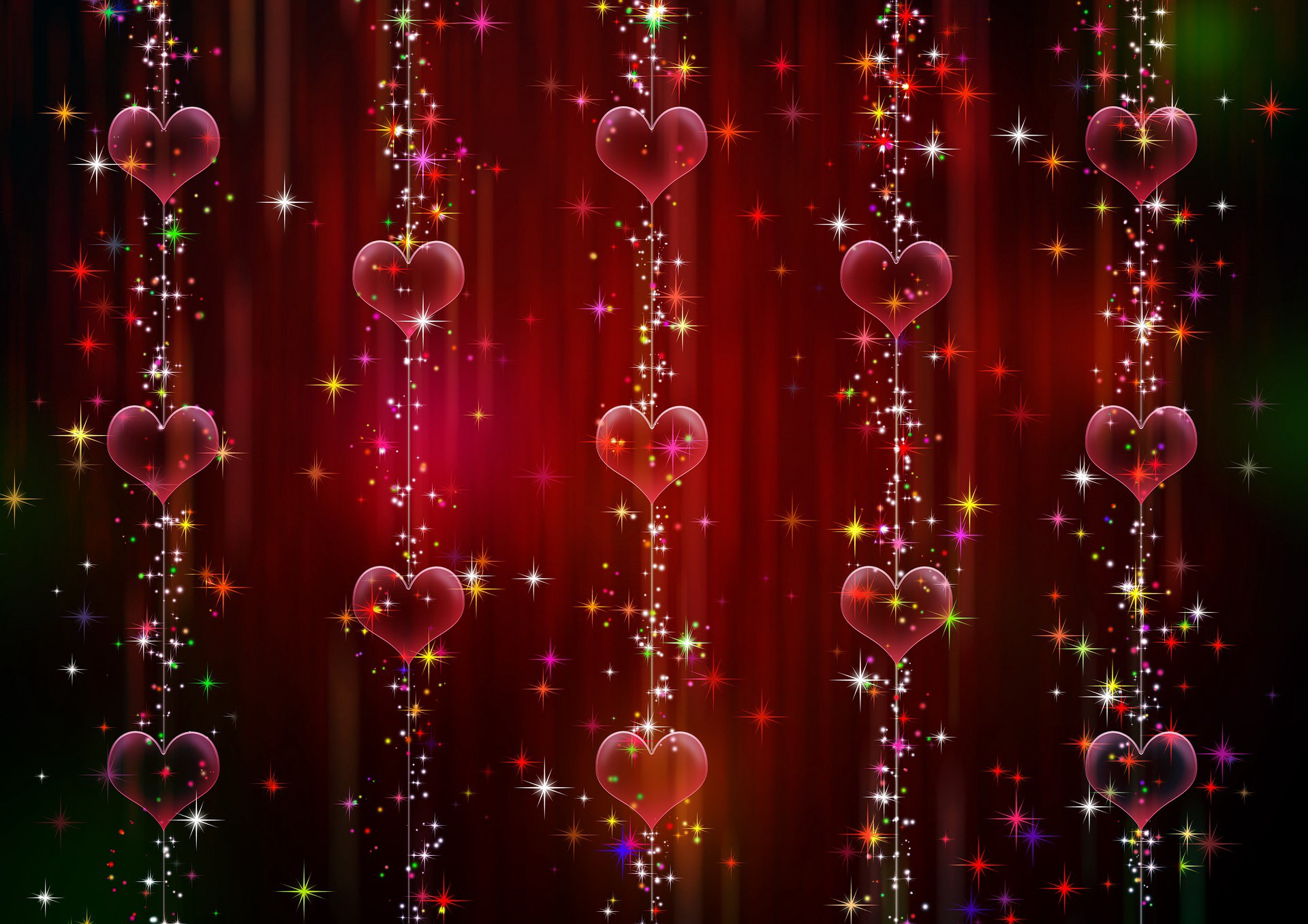 Red hearts on strings, on a red background