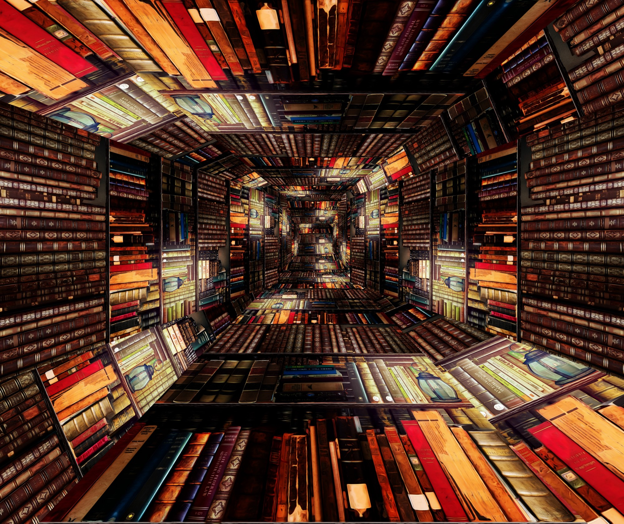 Photographic manipulation of library to appear as luminous, square-shaped tunnel.