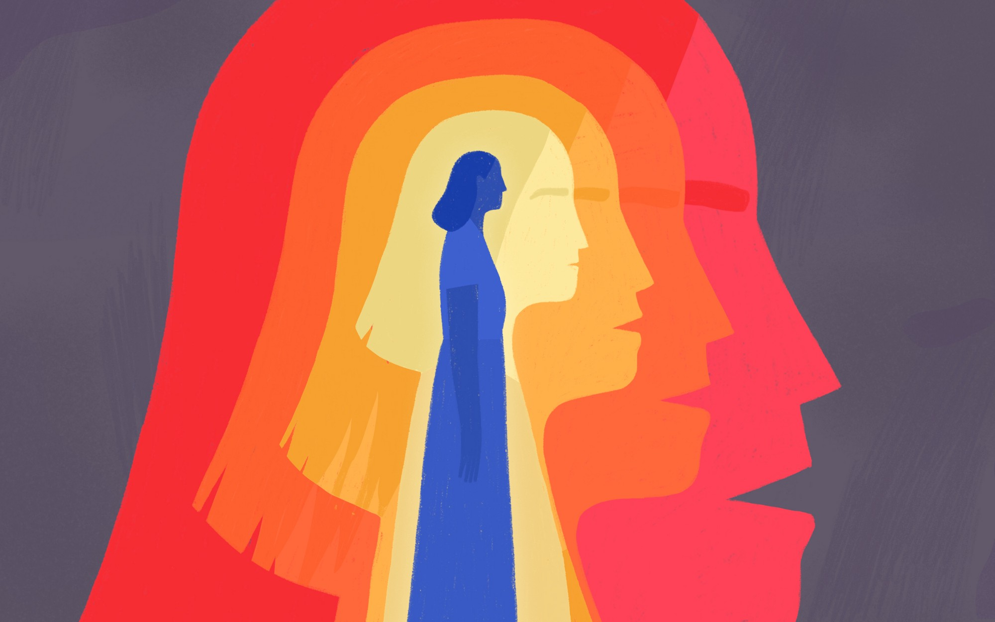 Illustration of a woman in the center, with concentric silhouettes of her around her.