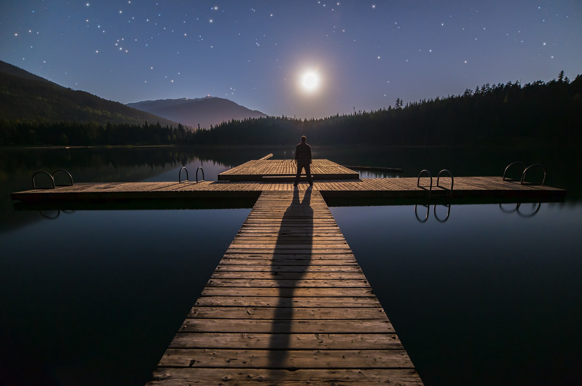 A guy staring at the moon.
