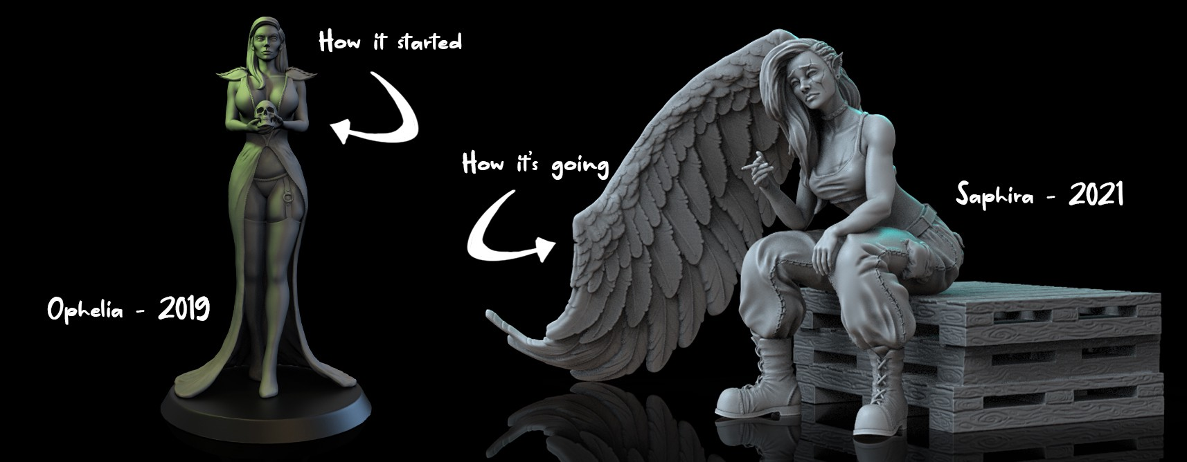 Left: Ophelia, a tall necromancer witch holding a skull, wearing a split dress, stockings and garters. Text: 'How it started'. Right: Saphira, a one winged angel sitting on a stack of palets holding a cigarette, wearing cargo pants, sports bra and military style boots. Text: 'How it's going'