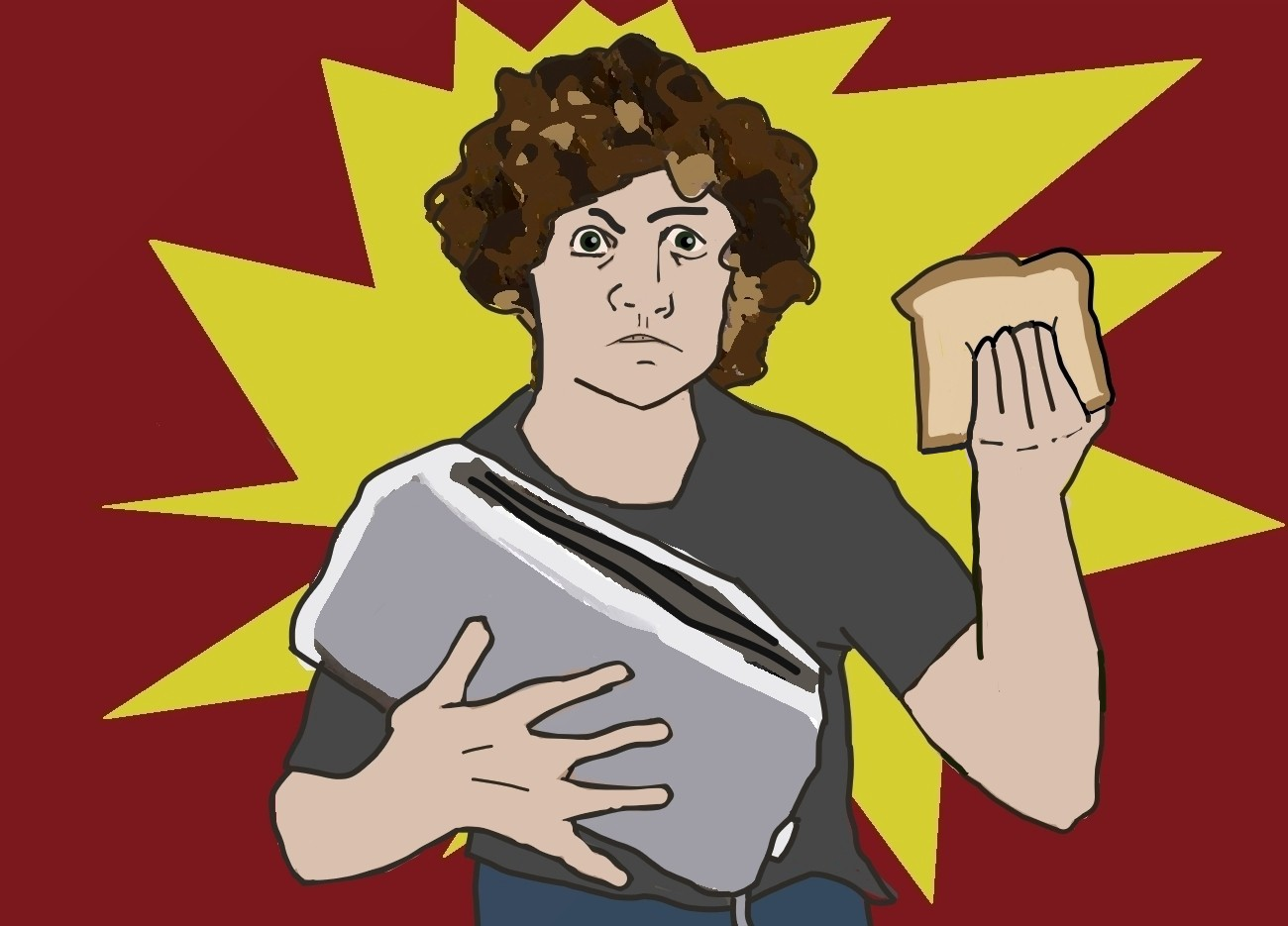 Angry man holding toaster and bread