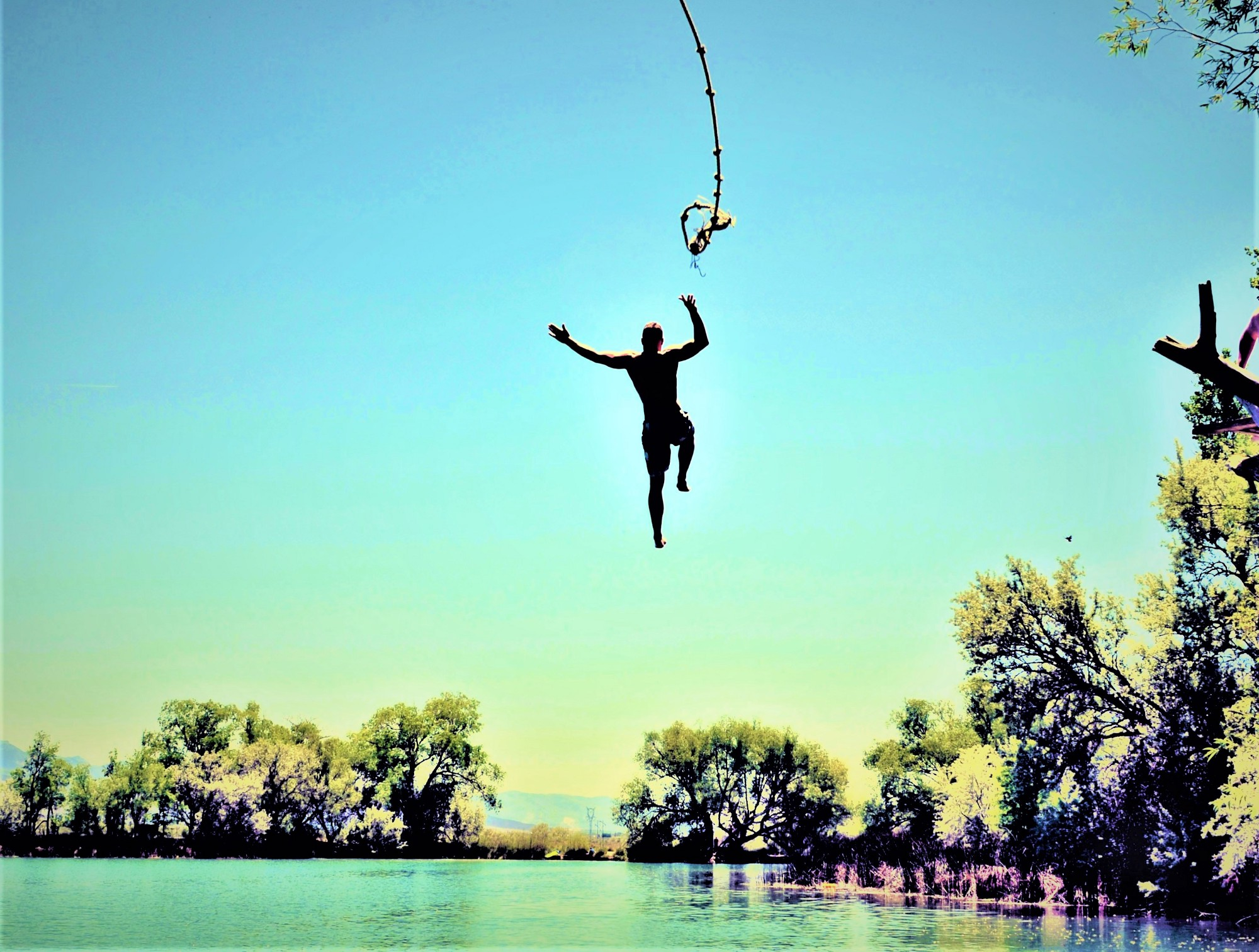 man in mid-air letting go of rope over calm lake