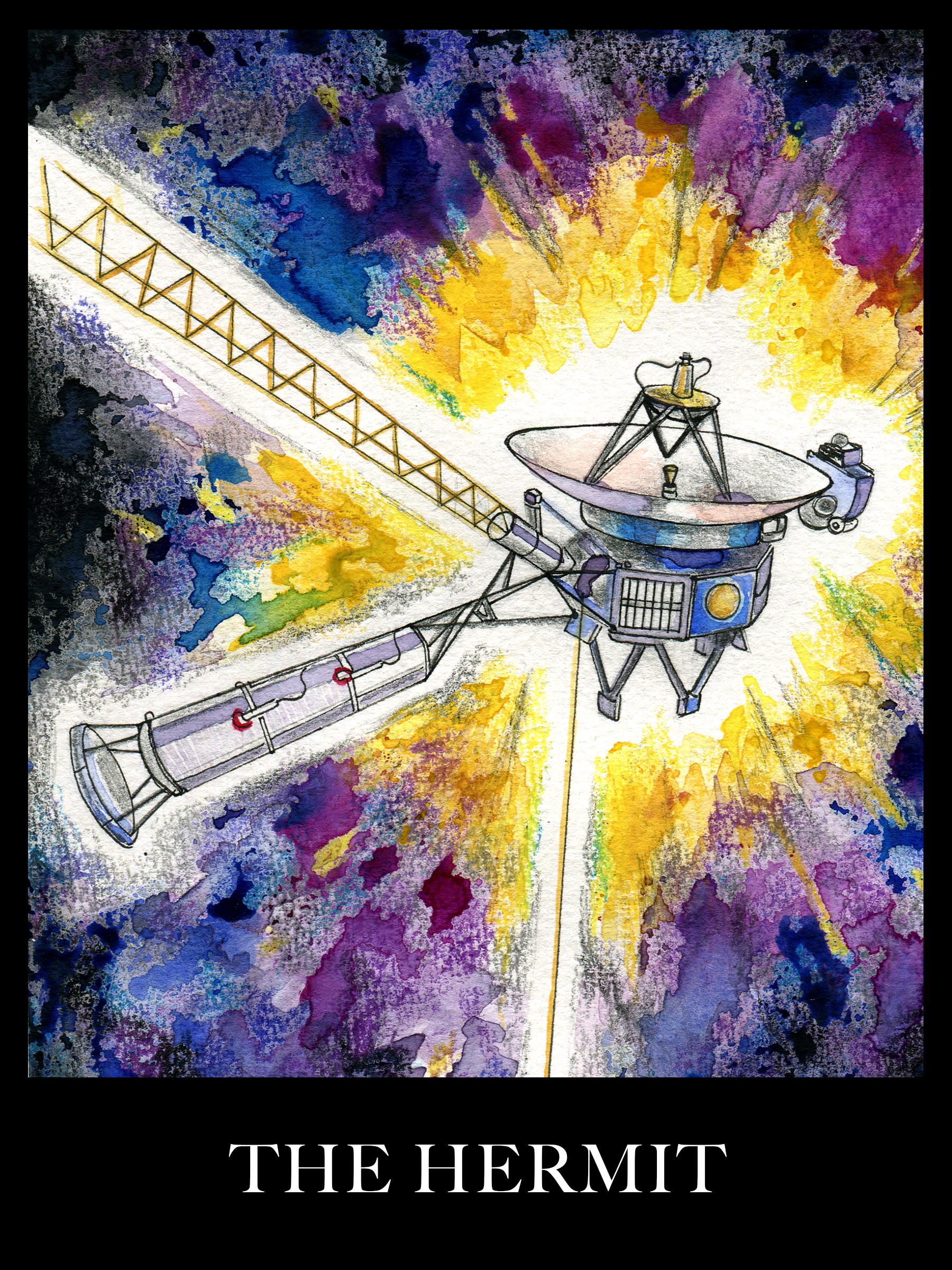 A watercolor painting of the Voyager spacecraft